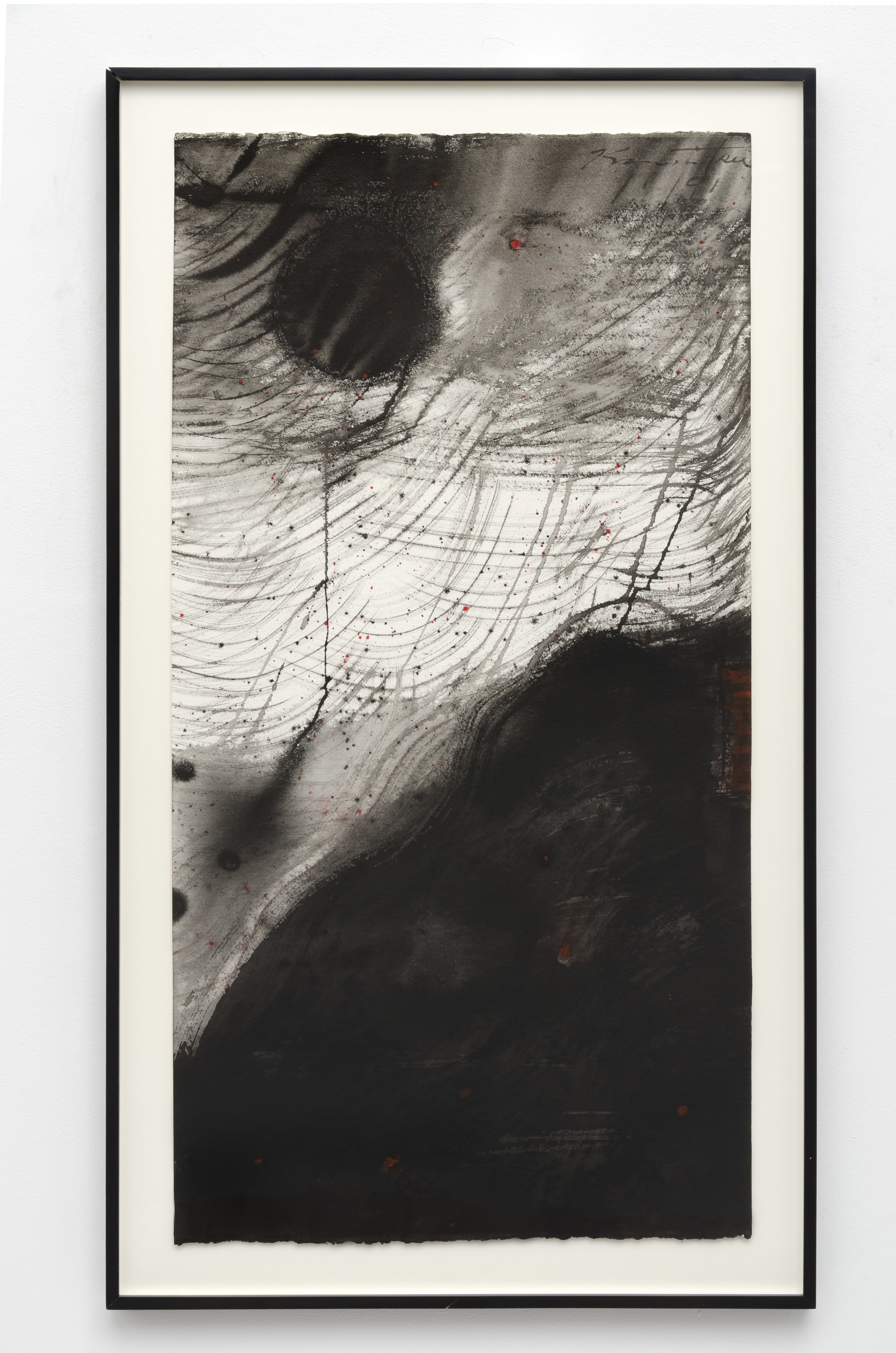 Untitled 1-91   1991  sumi on paper  45 1/4 x 25 3/8 inches, 114.9 x 64.5 centimeters