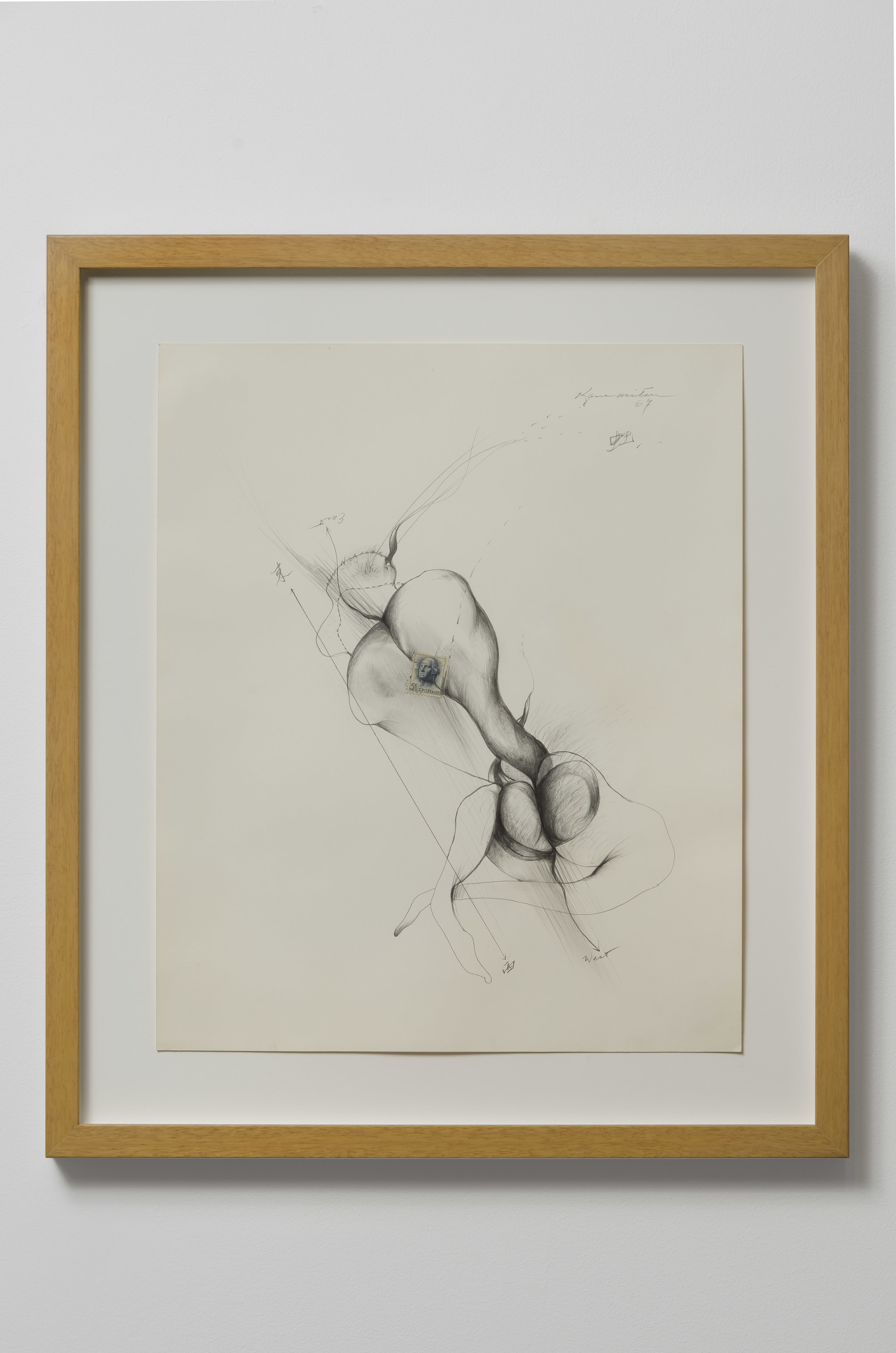 Untitled (East/West) , 1967 pencil on paper 17 x 14 inches; 43.2 x 35.6 centimeters