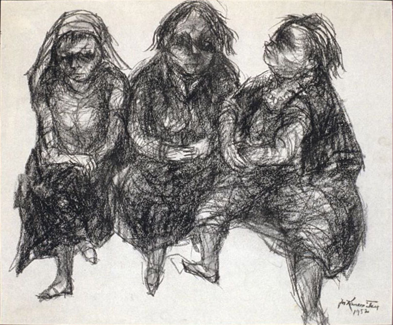 3 Women , 1952 charcoal on paper 15 3/4 x 19 1/8 inches; 40 x 48.6 centimeters