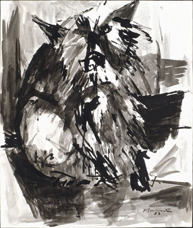 Dog Named Take , 1953 ink wash on paper 16 x 14 inches; 40.6 x 35.6 centimeters
