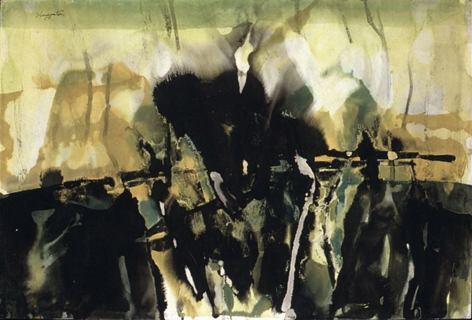 Landscape , 1957 sumi and watercolor 15 1/2 x 23 inches; 39.4 x 58.4 centimeters