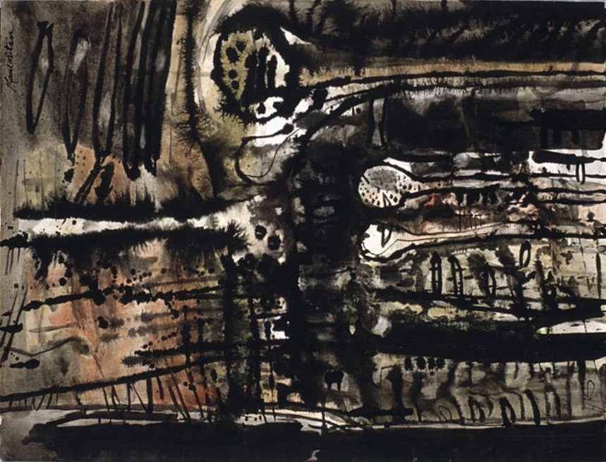 Night #0035 , 1956 sumi and watercolor 23 1/2 x 17 3/4 inches; 59.7 x 45.1 centimeters
