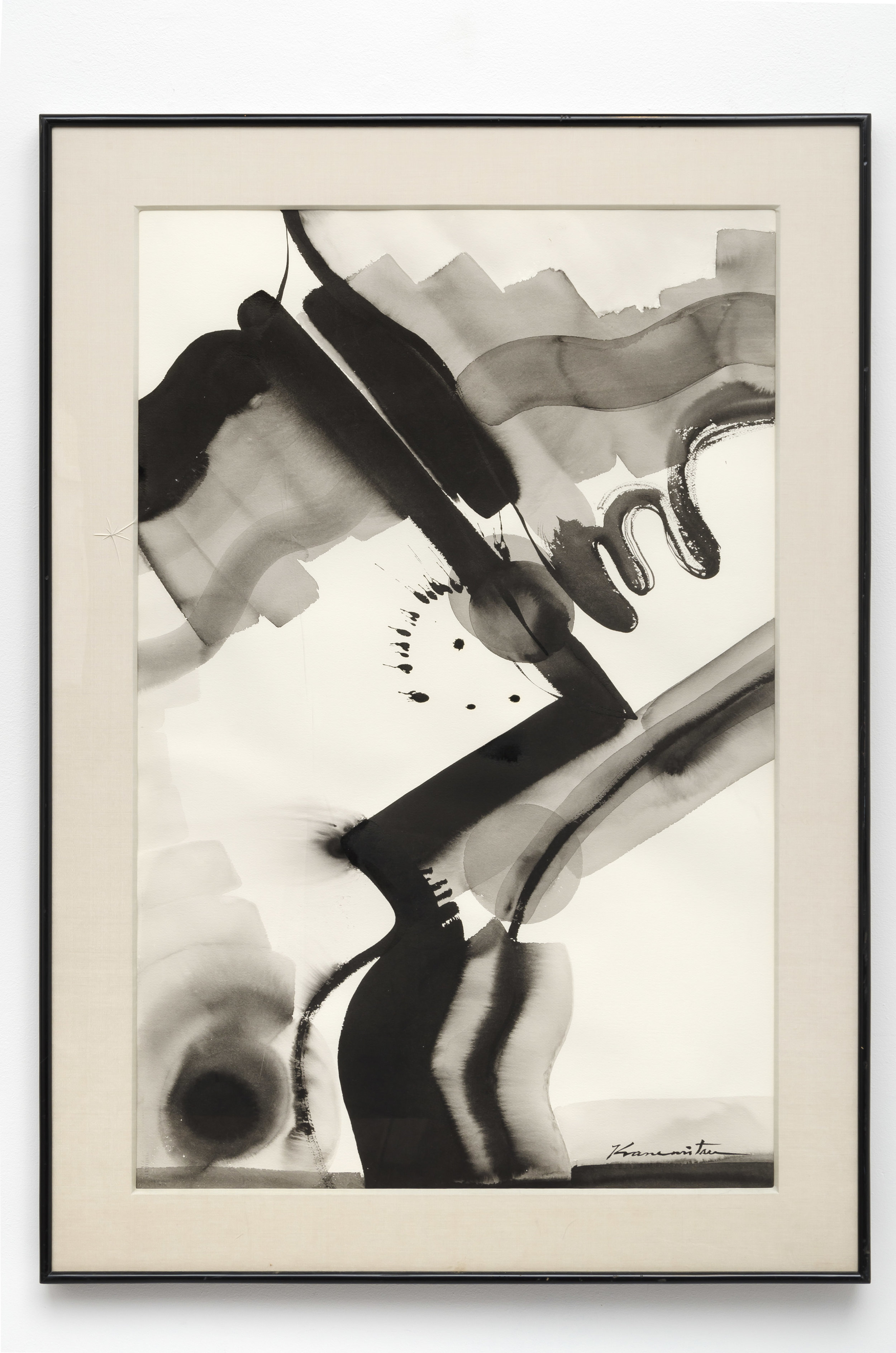 Sunday Night , 1973 paint and sumi on paper 40 x 25.5 inches; 101.6 x 64.8 inches