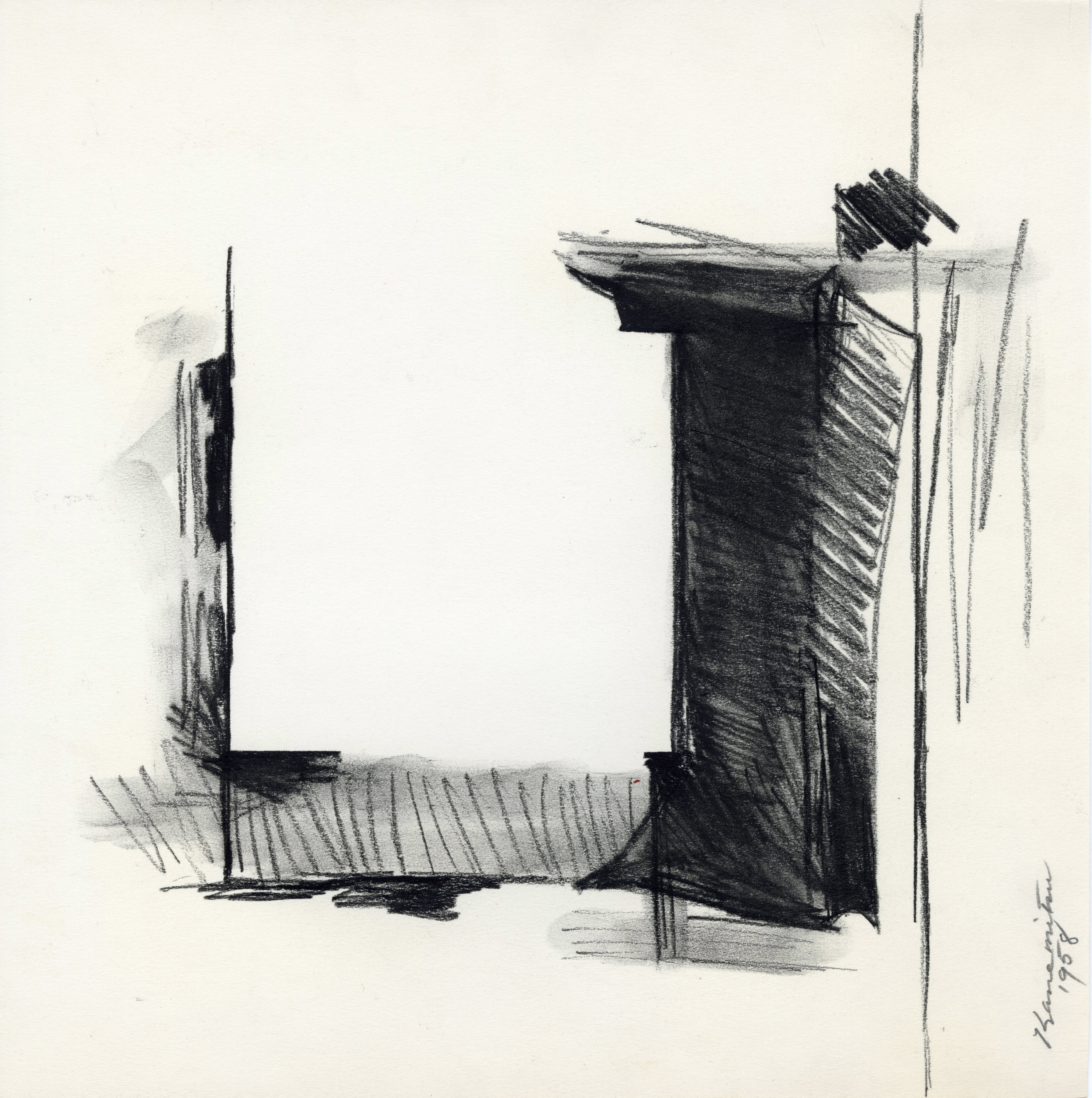 Untitled 5801 , 1958 charcoal on paper 10 7/8 x 11 inches; 27.6 x 27.9 centimeters