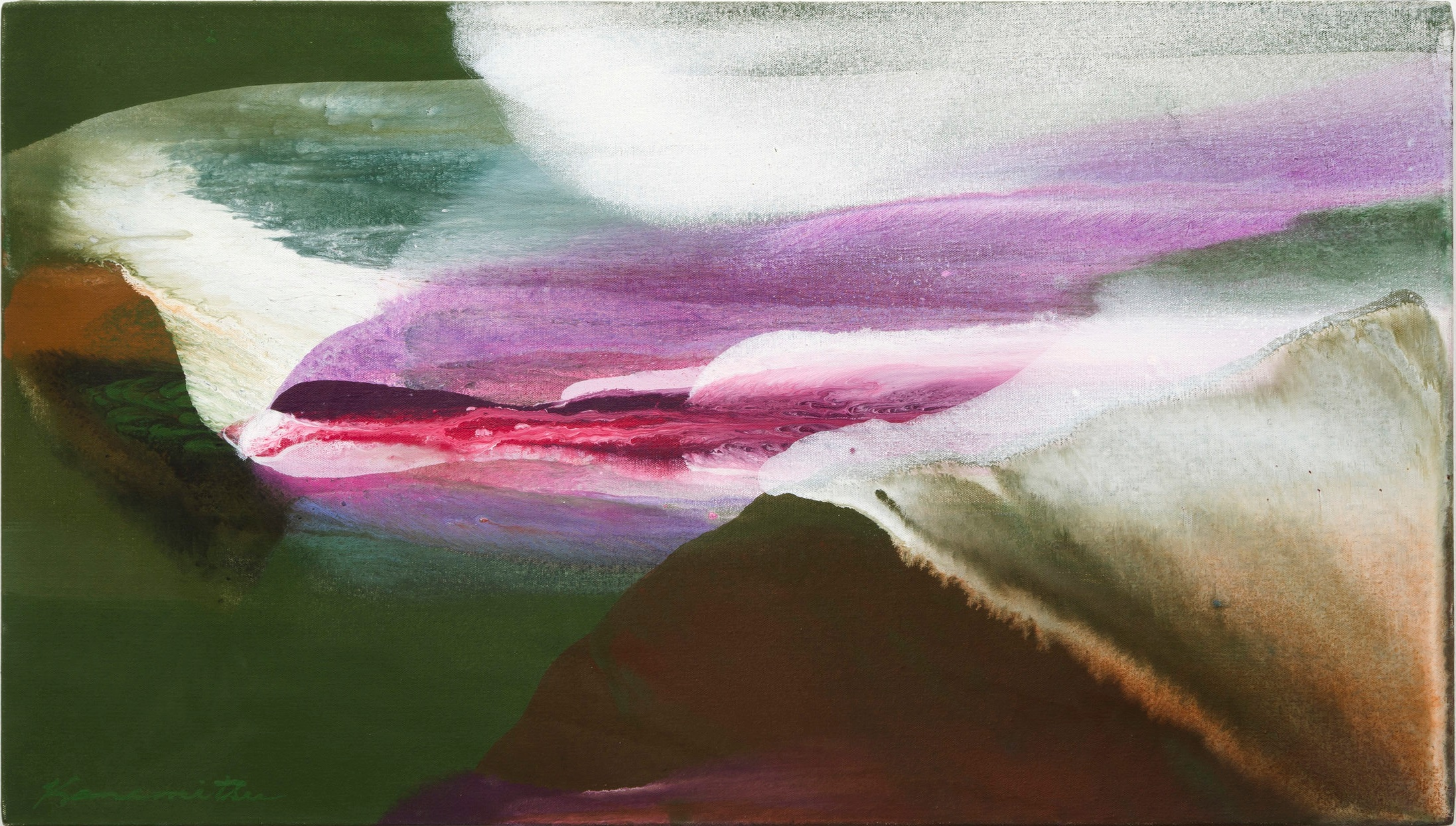 Spring 7PM , 1986 acrylic on canvas 18.25 x 32 inches; 46.4 x 18.3 centimeters