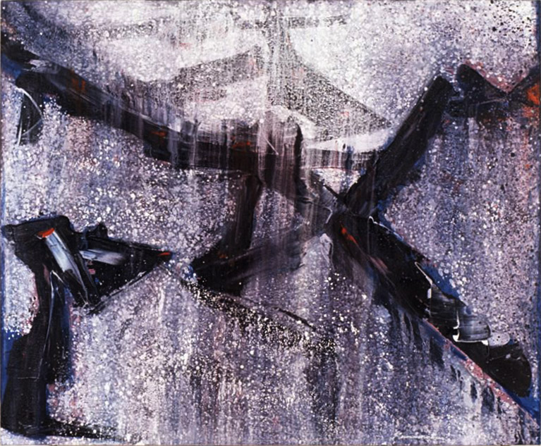 Traction Ave Series- Winter , 1990 acrylic on canvas 60 x 72 inches; 152.4 x 182.8 centimeters