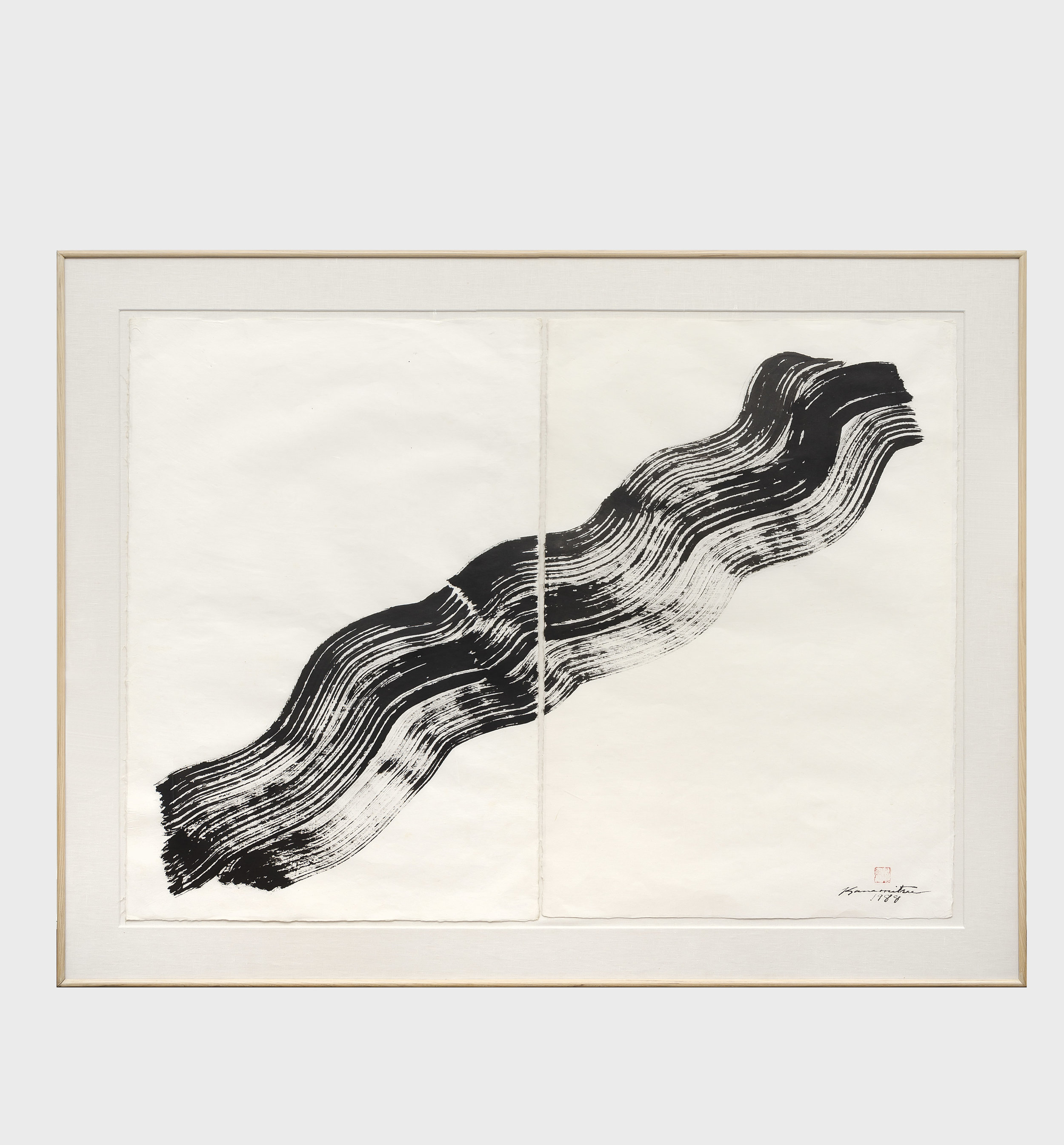 Nagare #4 , 1988 sumi on handmade Japanese paper 46 7/8 x 58 7/8 inches; 119.1 x 149.5 centimeters