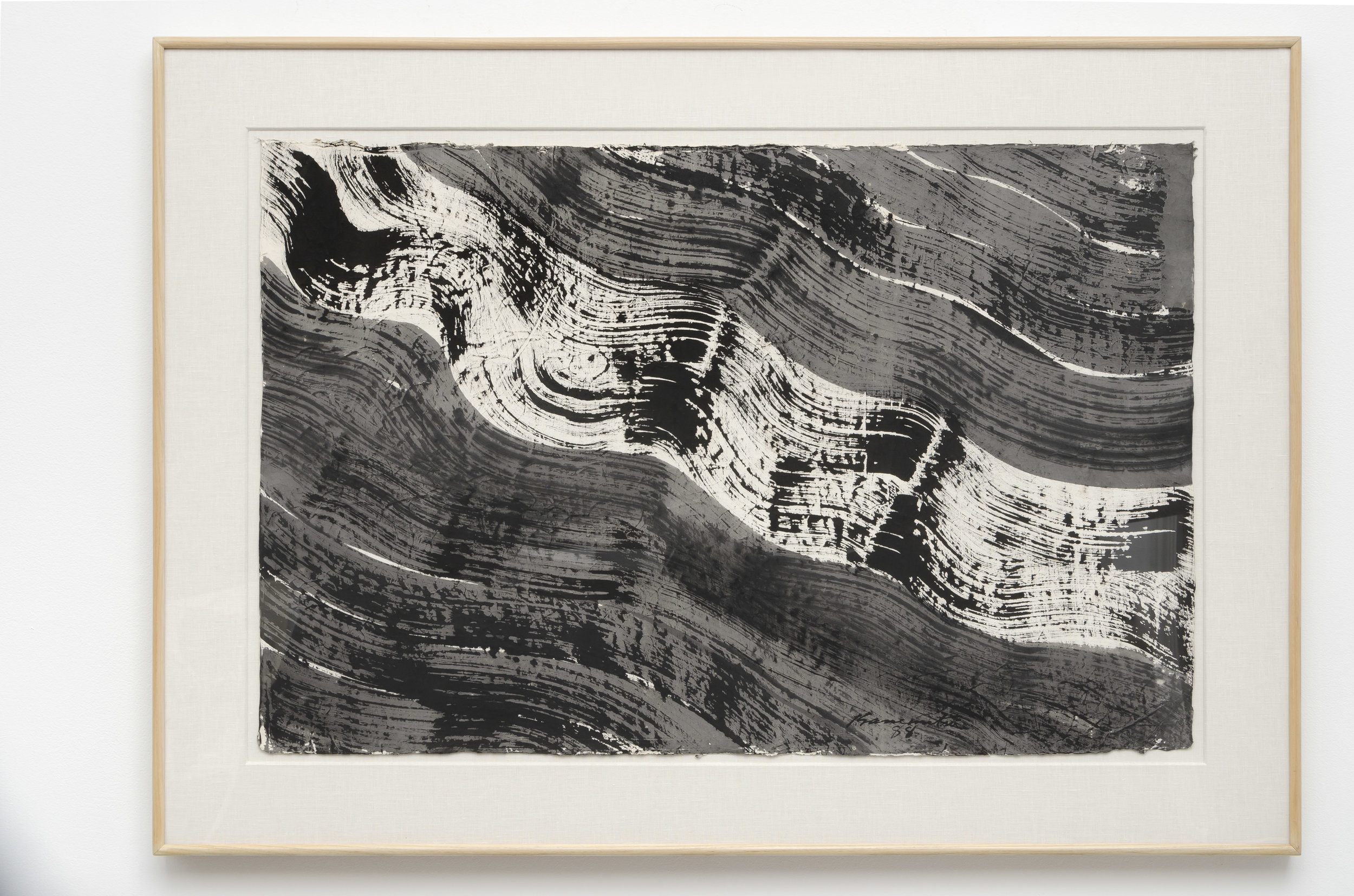 Nagare #5 , 1988 sumi on handmade Japanese paper 33.5 x 46.5 inches; 85.1 x 118.1 centimeters
