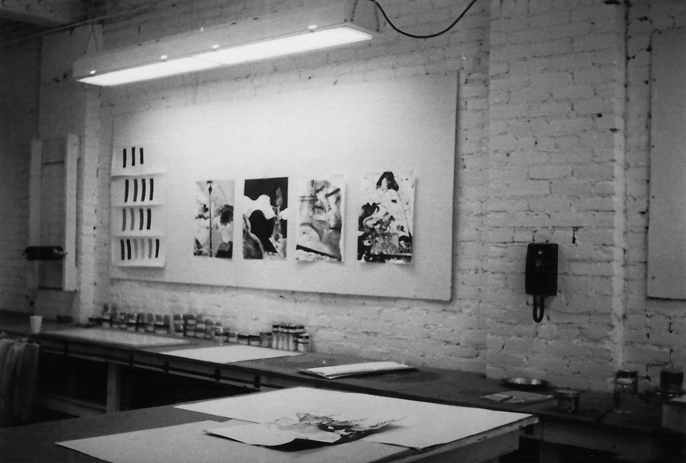 "Tamarind Press Lithography Workshop circa 1970. Prints on the wall are from the ""Illustrations of Southern California"" suite."