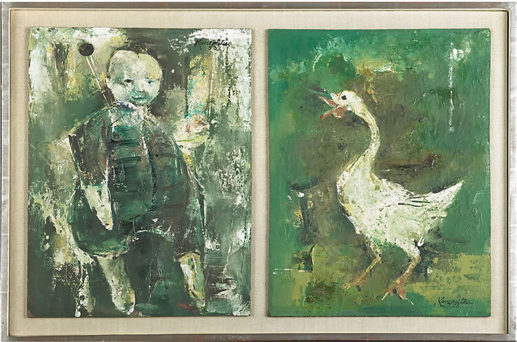 Untitled (child) and Untitled (goose) , 1953 oil on two panels mounted to board 6 x 12 inches; 15.2 x 30.5 centimeters (each)