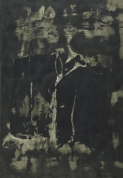 Untitled , circa 1950s  sumi ink on paper 27 1/4 x 19 inches; 69.22 x 48.59 centimeters