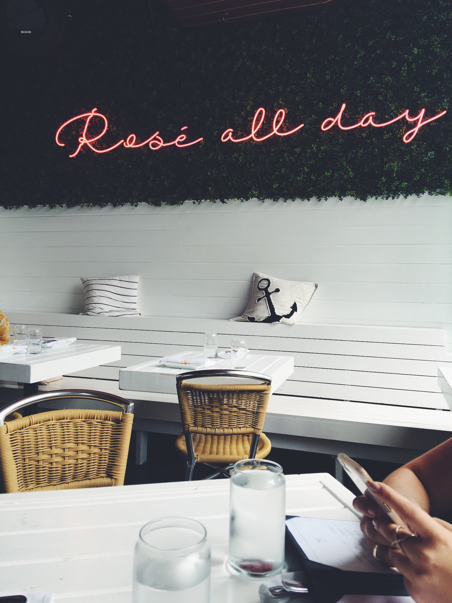 "THE HAMPTON SOCIAL - The famous ""Rose All Day"" sign you've probably seen on instagram before. This restaurant is located in River North. I really loved the food here so it's a good place to come eat and take photos!"