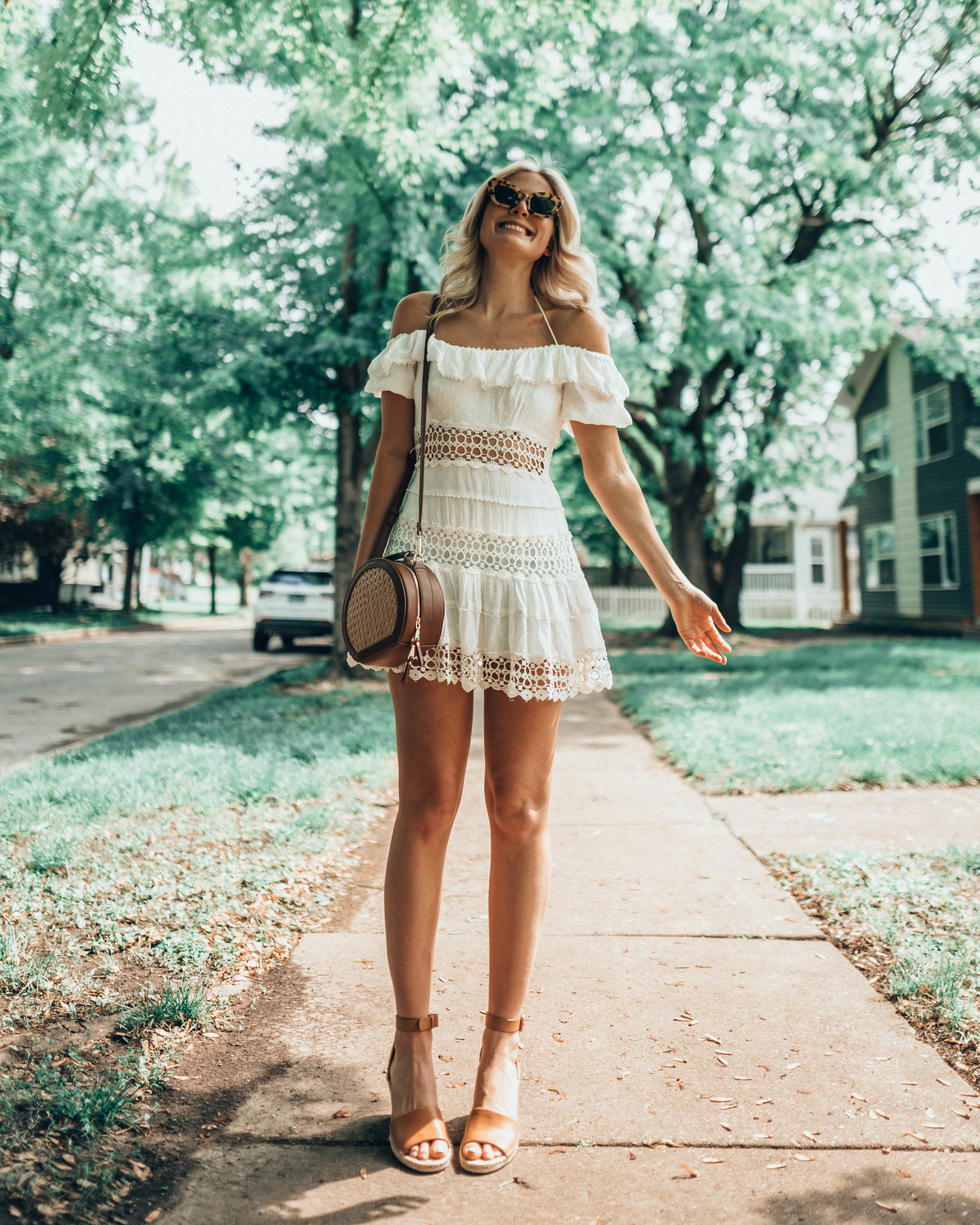LOOK THREE - Free People Crochet-Lace Dress / Vince Camuto Leera Espadrille Wedge Sandal / I.N.C. Ajae Tan Round Crossbody / Lucky Brand Two-Tone Openwork Disc Drop Earrings
