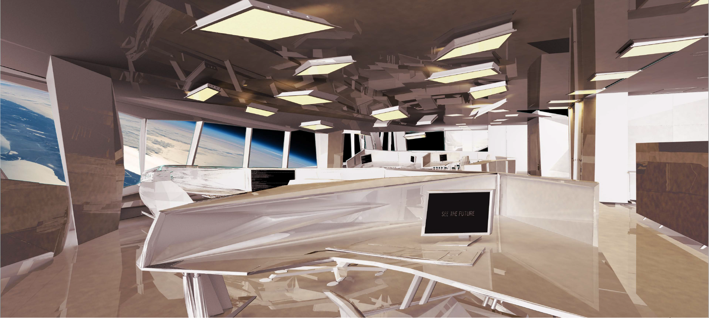 An abstracted office environment based on the 'inspired' spatial characteristics found within Irrational Exuberance: Prologue.
