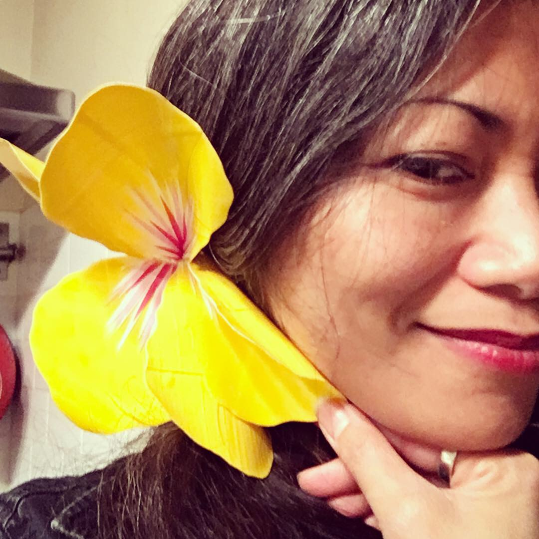 Duct Tape Still Rules - I still make stuff with duct tape! I made this yellow hibiscus flower fascinator, which I wore to the Georgia O'Keeffe exhibit at the New York Botanical Garden last fall 2018.