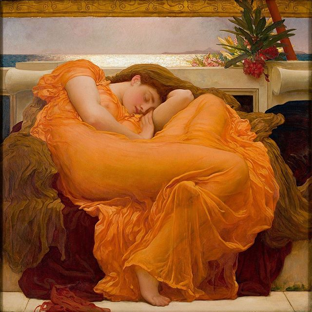 Dive in. Dig deep. Rethink. Share. Shift. Drop a ball. Pick it back up. Mess up. Choose grace over guilt. Put phone down. Rest your busy mind. Wake up with gratitude for the chance to try again 🌙 🎨: Sir Frederic Leighton's Flaming June, 1895 . . . . . #moonandmagpie #flyyourwhy #learnasyougrow #tryagain #soulopreneur #authenticityadvocate #forgiveyourself #growatyourownpace #growingishardwork #resteasy #dreambig #inspirationalart #frederickleighton #orangecrush #classicism
