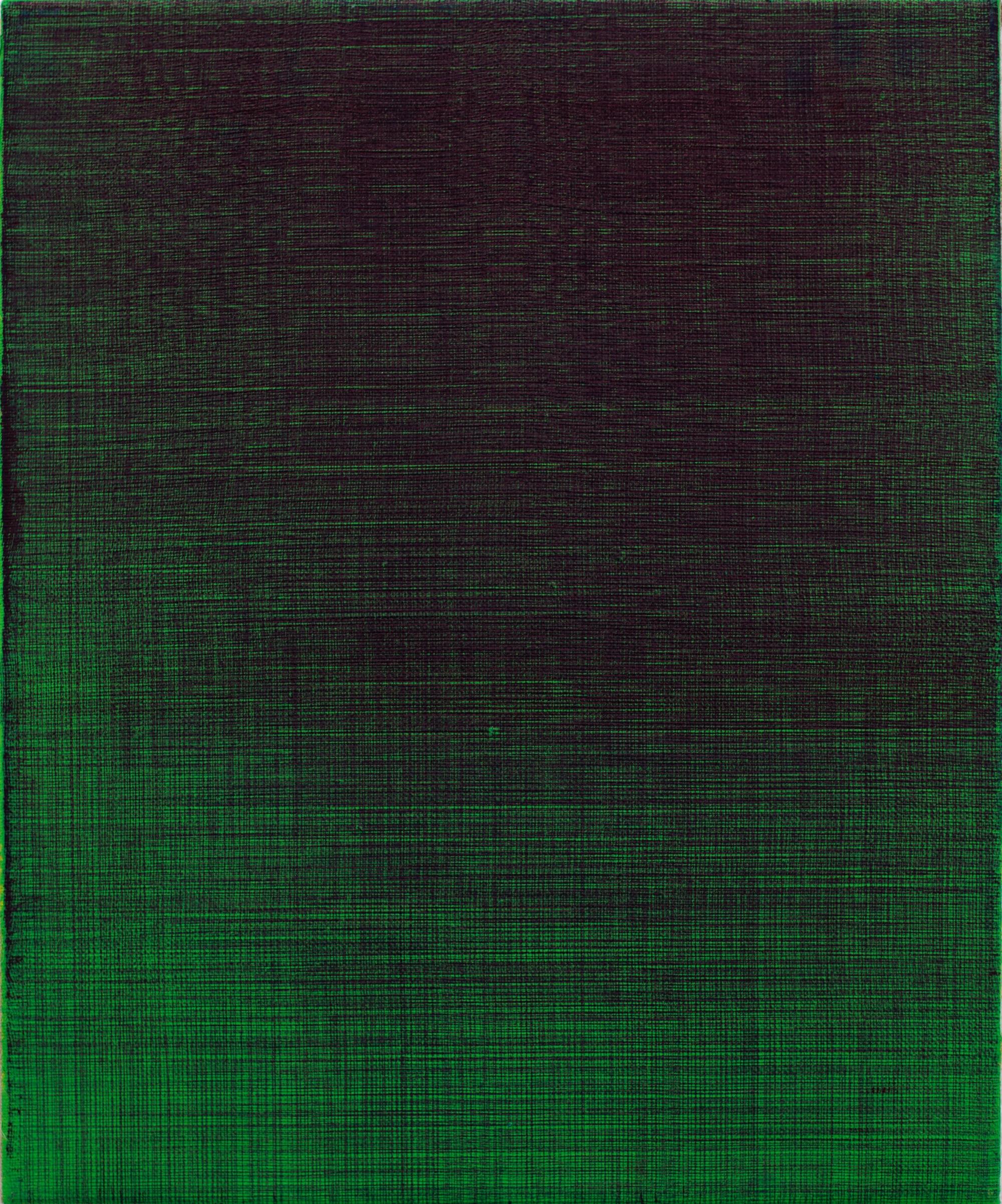 Sebastião Borges - Shorthand monochromesTyget sträcks och bakgrunden förbereds. Det är en avsikt att komma fram till en viss bild, men är bara från en liten skiss som lösningen uppstår.Jag kommer tillbaka till duken, handen rör sig och en linje ritas. Från topp till botten, från en sida till den andra; En ny bild stiger fram och ett raster avslöjas.Linjer över linjer, linjer över trådar i duken.Rutnätet fungerar som en extern given struktur, ett system som kan ge handen möjlighet att arbeta ensam. När klyftan mellan idén och dess genomförande förlängs uppstår en annan uppfattning om temporalitet. Genom målarbete är rationaliteten tömd och jag kan skapa ett avstånd från målningen medan jag målar, för i denna repetitionsprocess skapas en form av alienation och målningen (som målning) upphör att existera. Det är just genom dekonstruktionen av den logiska operationen som en kropp arbetar med sinnet frånkopplat från handlingen.Med förståelsen för dess repetition och mekaniseringen av en gest, gallret flätas in i målningens yta.I illusionen av monokrom avslöjar fibrer sig själva.Och i det gröna lyser det röda