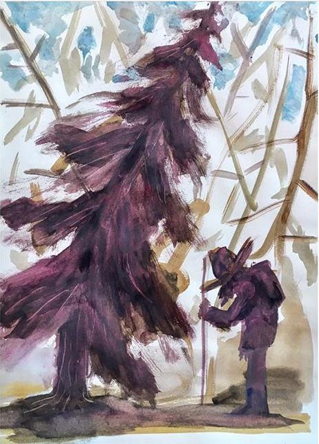 Andreas Poppelier - Andreas Poppelier bor och arbetar i Ivarsbjörke,Värmland. Värmlands natur figurerar ofta i Poppeliers landskapsmåleri, där naturen framstår som tilldragande och otäck i ett. Landskapet avbildas ur både ett traditionellt perspektiv och genom en mer desorienterande uppbyggnad. Mörkret och mystiken i naturen är ständigt närvarande, tillsammans med lekfulla färger och livliga penseldrag. Det vackra finns mitt i naturens okända och skapar en kontrollerad eufori. Utifrån ett intresse för människor och deras miljö ställs frågor om liv, död och förutsättningarna att leva i samhällets komplexa system.Andreas Poppelier är född 1973, uppvuxen i Eskilstuna och tog examen från Malmö Konsthögskola 2003. Han har haft flera soloutställningar, bland annat på Galleri Ping-Pong i Malmö, DUNK! I Köpenhamn och har återkommit regelbundet till Arnstedt under många år.