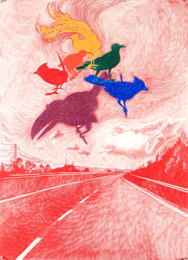 """Morten Schelde - Morten Schelde är känd för sina röda blyertsteckningar vilka ibland skapas traditionellt med penna och papper och ibland manipuleras digitalt.Han är en nytänkare och är inte rädd för att prova nya metoder för att skapa sina bildvärldar. Schelde utforskar gärna det vetenskapliga, äventyrliga och fantastiska som får flyta ihop med det vardagliga. 2006 följde han med på en jorden runt-expedition med den danske prinsen Frederik som skeppstecknare där han tog snapshots som blev förlagor till hans teckningar. I tecknandet väljer han ut intressanta detaljer från fotografiet. Denna långsamma process ger konstnären tid att tänka och bilden """"passerar kroppen"""" vilket ger verket en annan dimension.Morten Schelde är född 1972 i Köpenhamn där han numera bor och arbetar. Han tog examen vid Den Kongelige Danske Kunstakademi 2001. Schelde representerad i flera samlingar, b.la. Lousiana Museum of Modern art, National Gallery of Denmark. Han även en av de få unga danska konstnärer som fått skapa ett permanent verk till Kronprins Frederik och Kronprinsessan Marys nyrenoverade våning på Amalienborg i Köpenhamn. Schelde återkommer i år till Arnstedt för fjärde gången sedan 2005."""