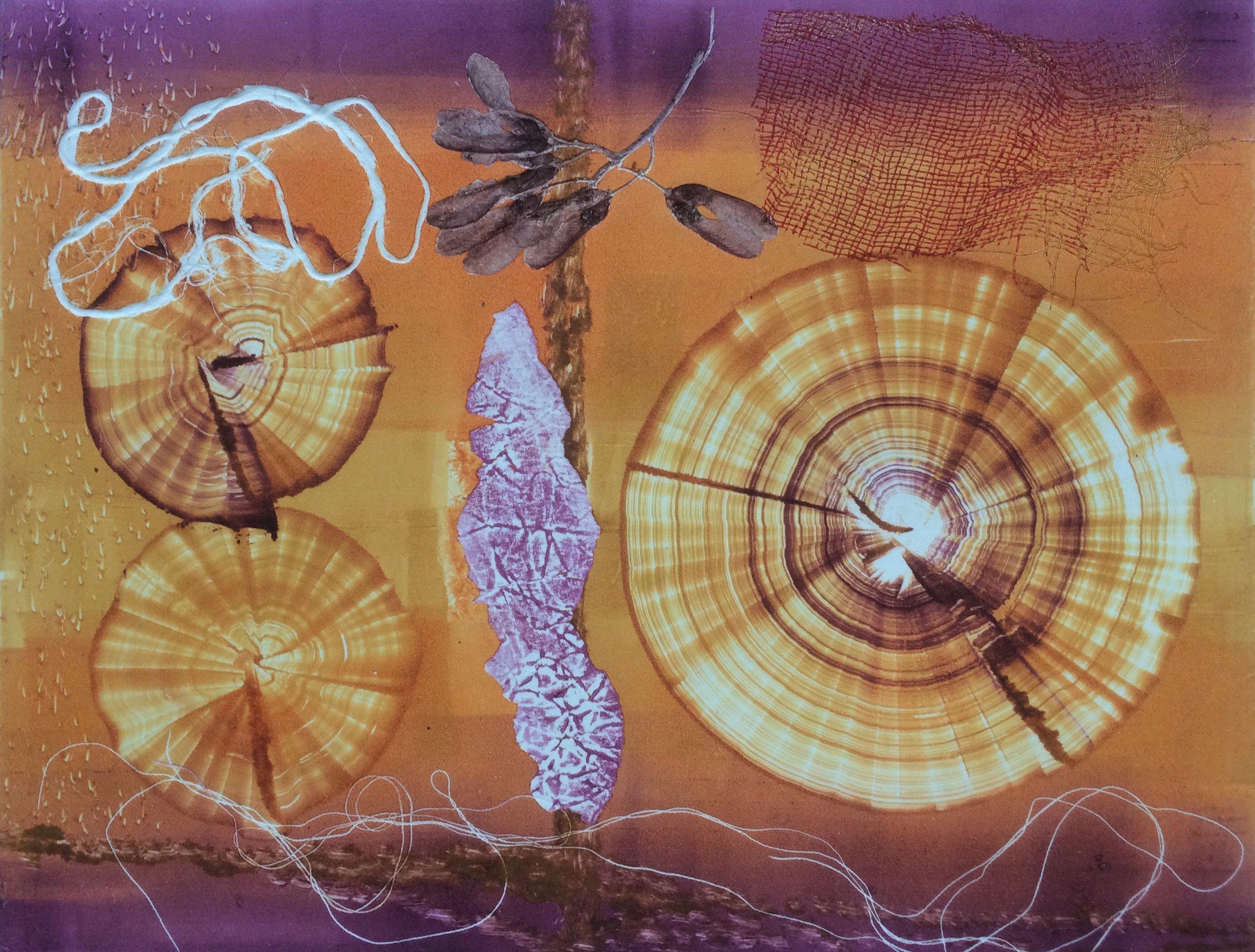- Maria HallMaria Hall har under våren 2019 gjort en serie monotypier kallade Mémoire. På kopparplåt har färg valsats, målats och tecknats i ett assemblage med fynd från natur och textila element. När plåten sedan trycks överförs allt på grafikpapper. Varje tryck blir därför ett original där detaljer i efterhand akvarelleras.I de grafiska verken möts Maria Halls två världar – naturen och abstraktionen. De akvarellerade monotypierna är fyllda av minnesspår: av ristningar, rundlar, frön, trådar, barr och utklipp. Spåren anknyter till den fysiska verkligheten medan abstraktionerna vänder sig till betraktarens fantasi. Bladen är ramade i passepartout med en ram av valnöt. Pappret: Hahnemühle 300 g. Glaset är reflexfritt – ett så kallat museiglas.Maria Hall är född 1964 i Göteborg, bor och arbetar i Stockholm. Hon har utbildning vid Valand, Göteborgs universitet och Kungliga Konsthögskolan i Stockholm. Hall är representerad i flera svenska samlingar, bland annat Göteborgs Konstmuseum och Stockholm stad och har haft många separatutställningar runt om i Sverige. Hall har erhållit flera utmärkelser, bland annat Edstrandska Stiftelsens konstnärsstipendium, bildkonstnärsfondens tvååriga konstnärsstipendium och nu senast Konstakademiens Grez-sur-Loing-stipendium.