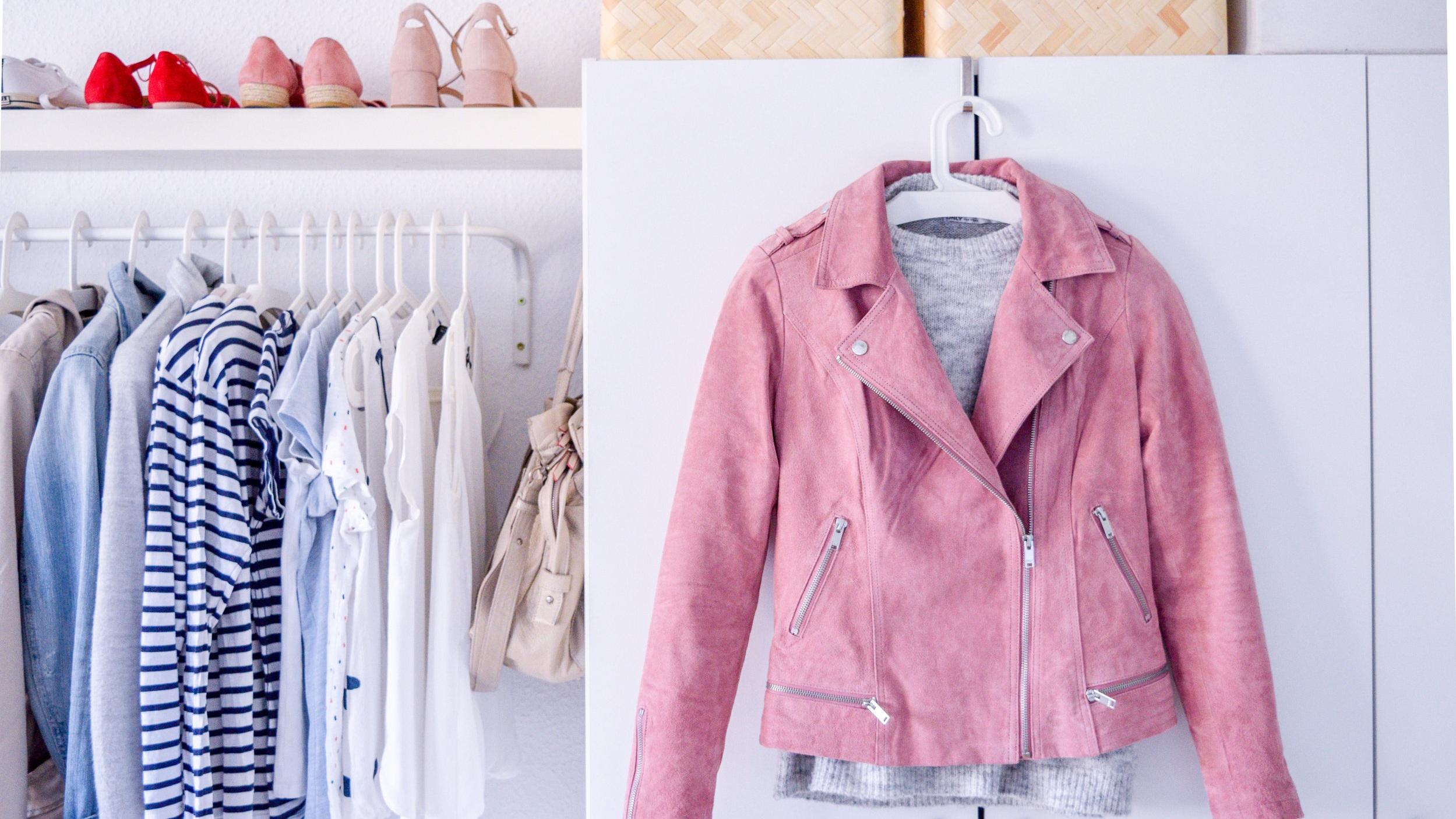 capsule wardrobe, pink biker jacket, spring wardrobe, simple style, casual chic
