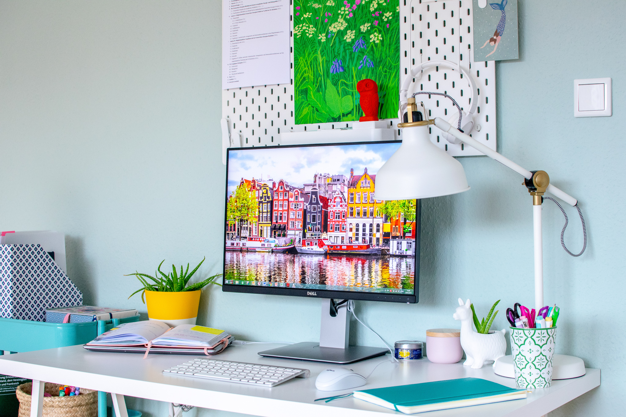 colourful home office setup