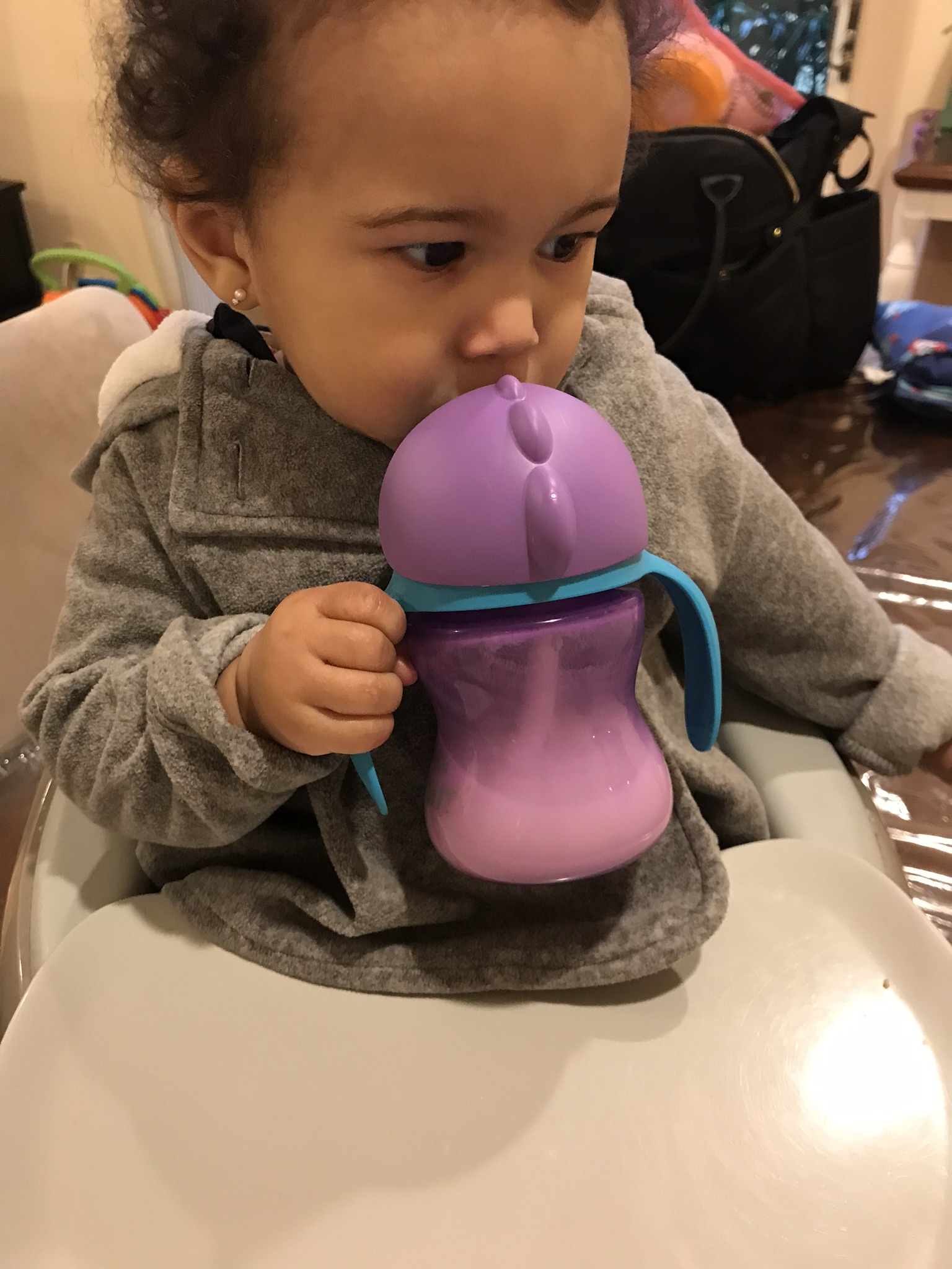 - She drinks milk out of a Phillips Avent My Bendy Straw cup and drinks a HIPP hypoallergenic formula.