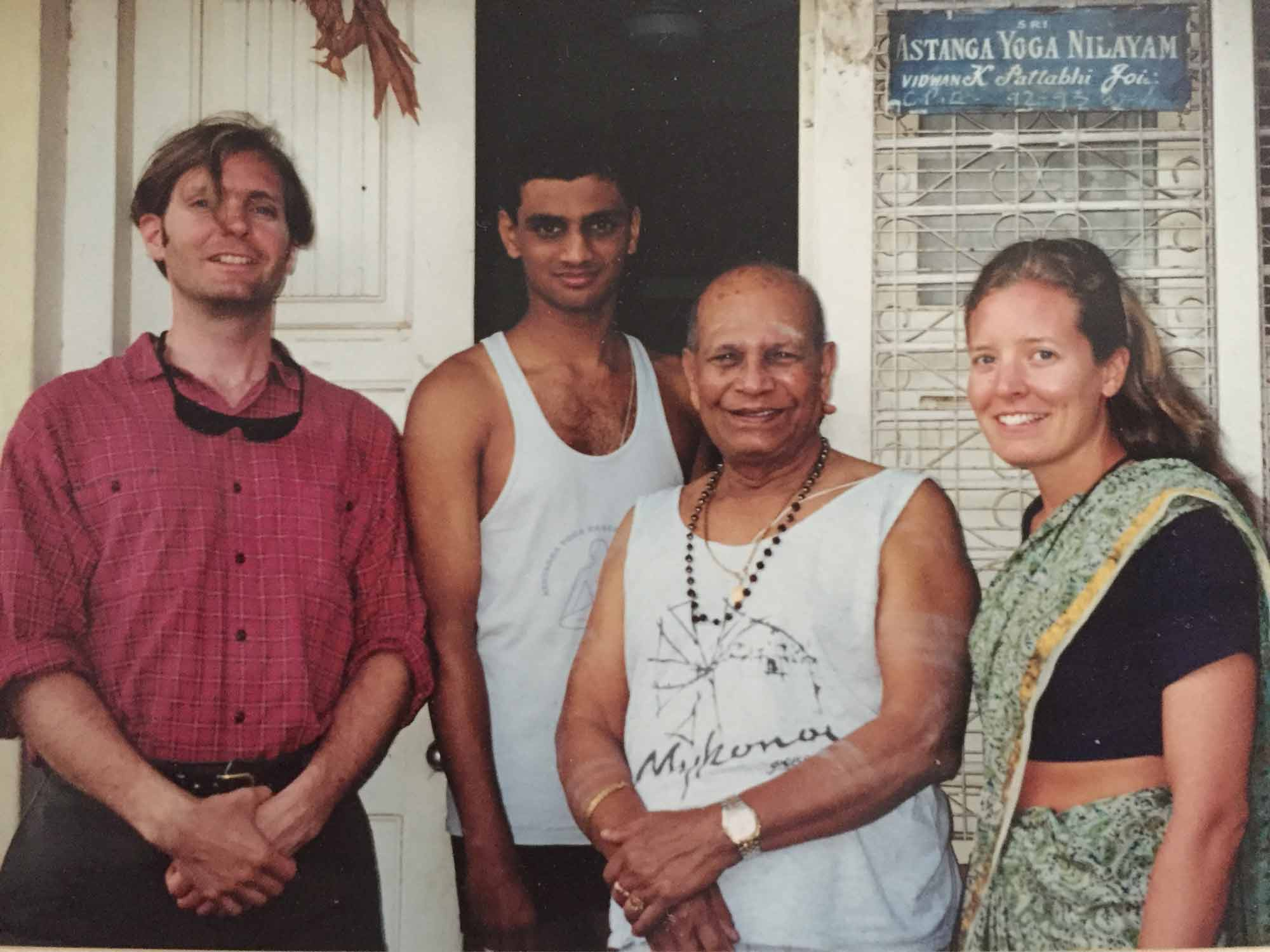 Fiona and Julian with Pattabhi Jois and Sharath Jois in Lakshmipuram, Mysore, India in 2000.