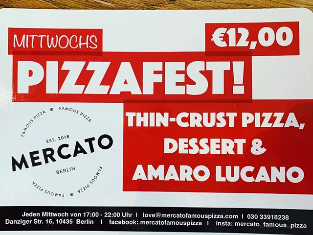 It's PIZZAFEST at Mercato. Pizza, Dessert and Amaro! 12 euros.