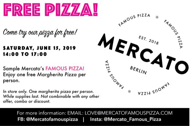 Mercato Free Pizza Event on June 15 from 14:00 - 17:00!! Come get a free Margherita Pizza!!