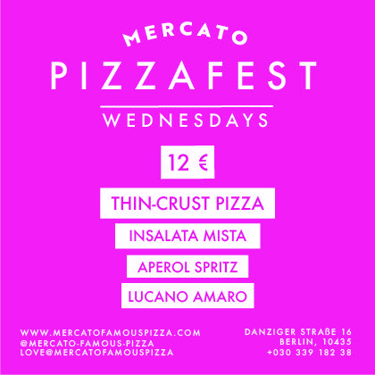 Now PIZZAFEST on Wednesday's is even better!! Thin-crust pizza, salad, Aperol Spritz and Amaro Lucano for only 12€!