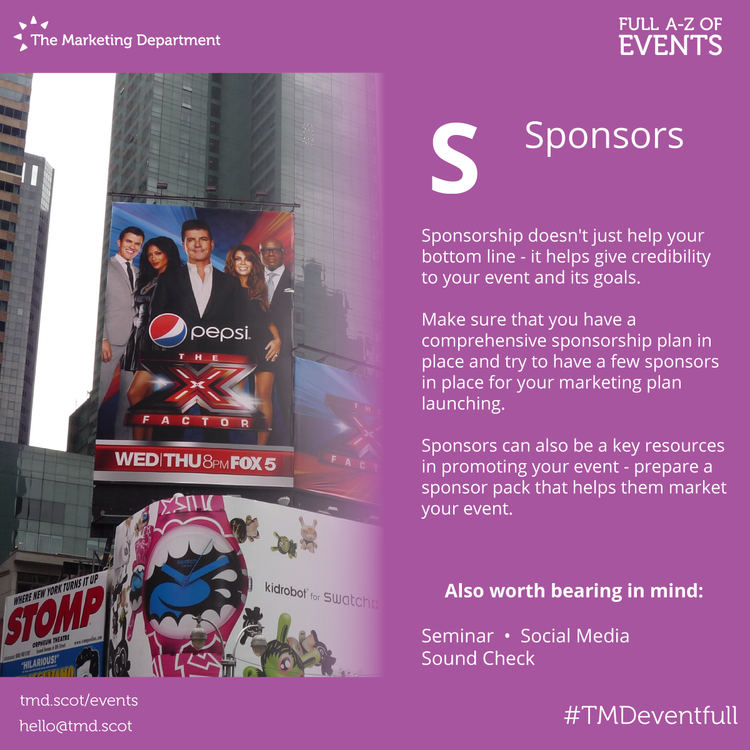EventFull: S is for Sponsors