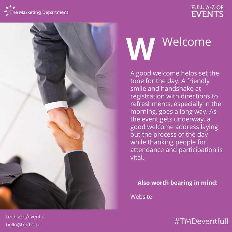 EventFull: W is for Welcome