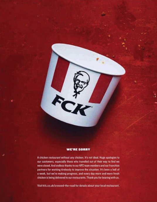 KFC Apology Campaign advert placed in the Sun and Metro newspapers