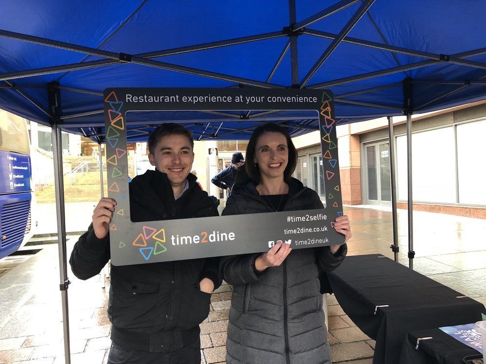 Time2Dine selfie frame with Carolyn Mandache, CEO of Time2Dine