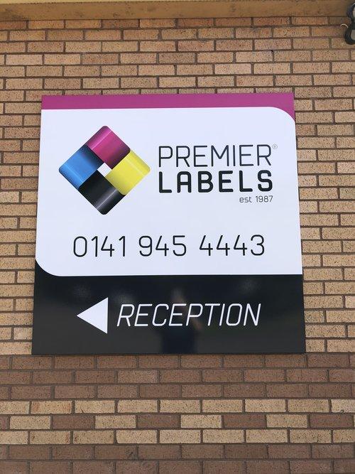 Premier Labels reception sign