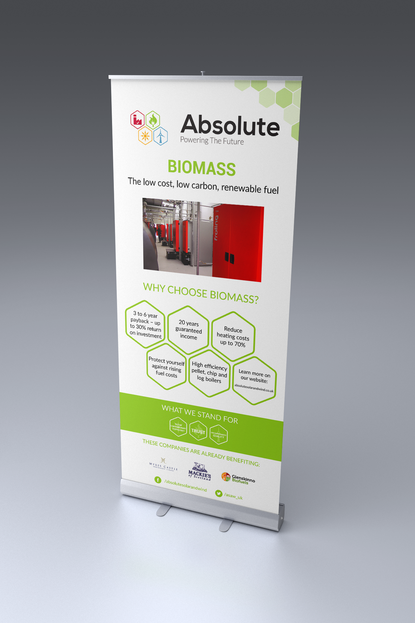 Absolute Solar and Wind biomass roller banner