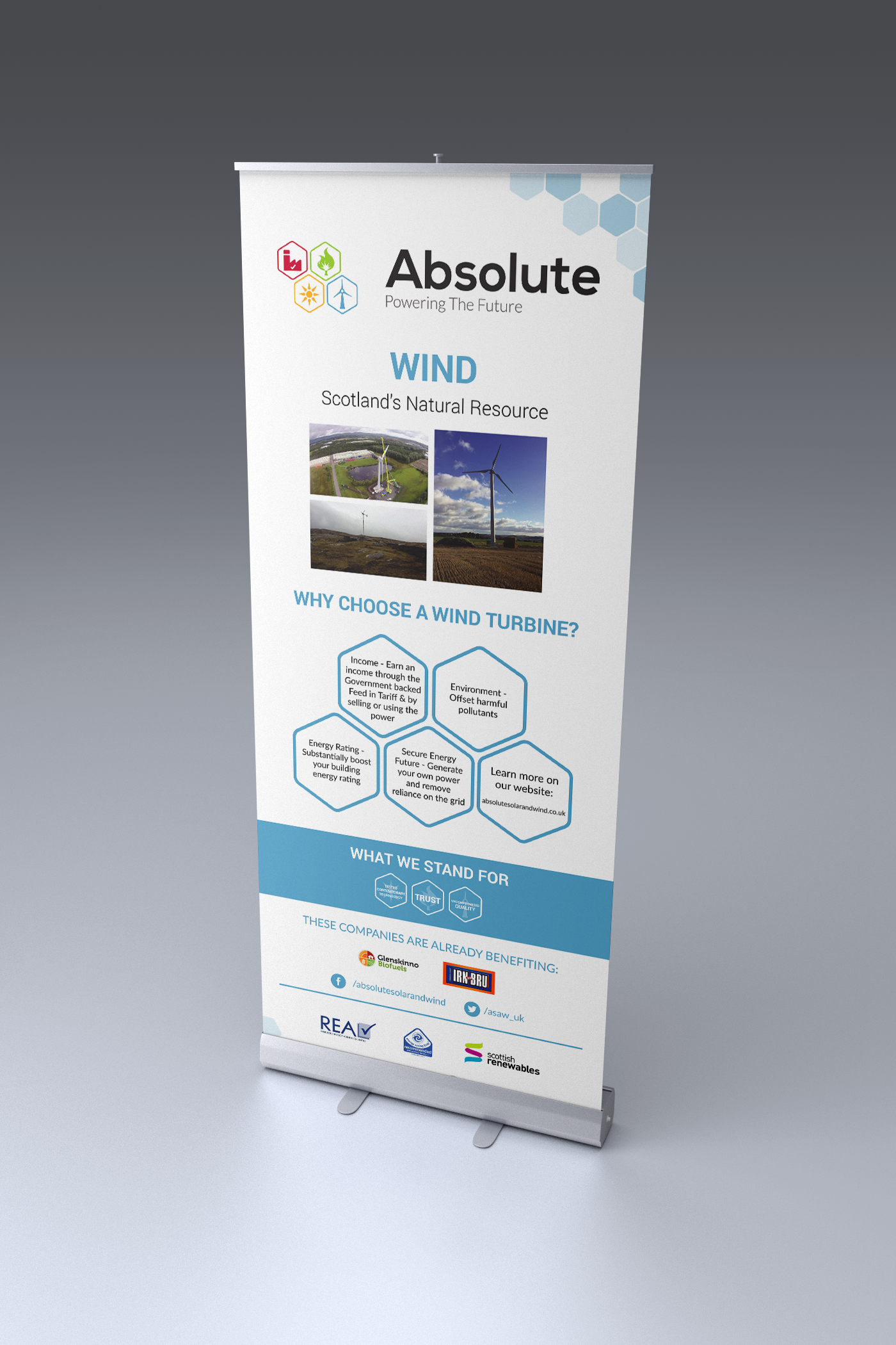 Absolute Solar and Wind wind roller banner