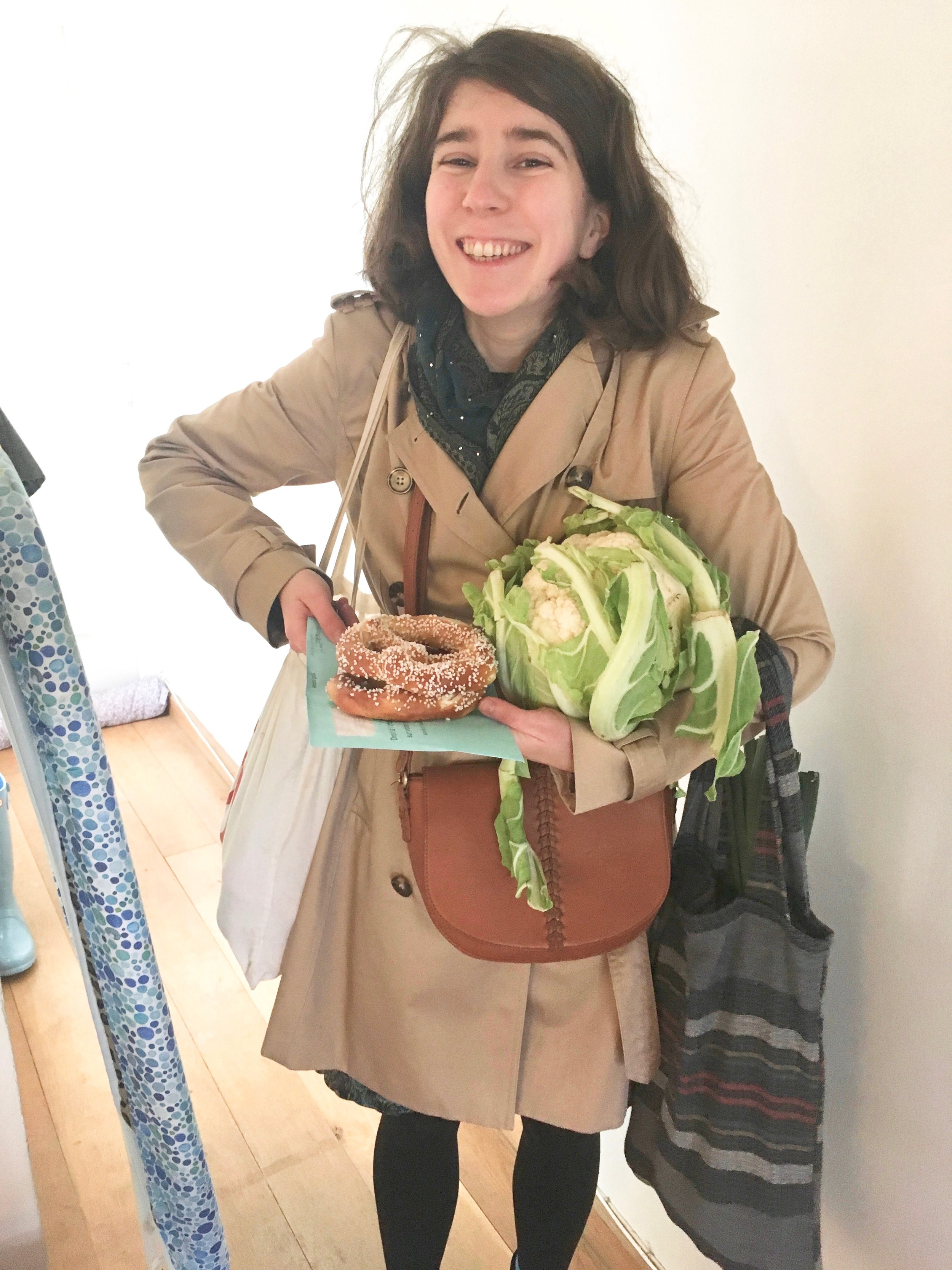 This is what zero waste often looks like around here: carrying a giant cauliflower under one arm, and using the post as a pretzel plate (try as we might, our 'paperless banking' sends us each at least one letter a month).