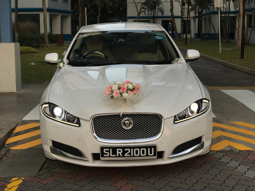 Jaguar XF wedding car arrival