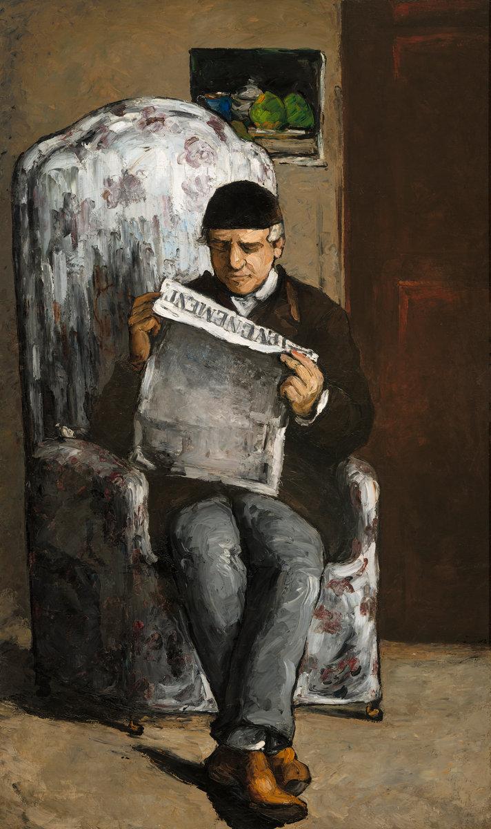 """The Artist's Father, Reading """"L'Événement"""" 1866, Paul Cézanne"""