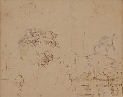 Drawing of Isaac and Rebeccah spied upon by Abimelech , Rembrandt, ca. 1662