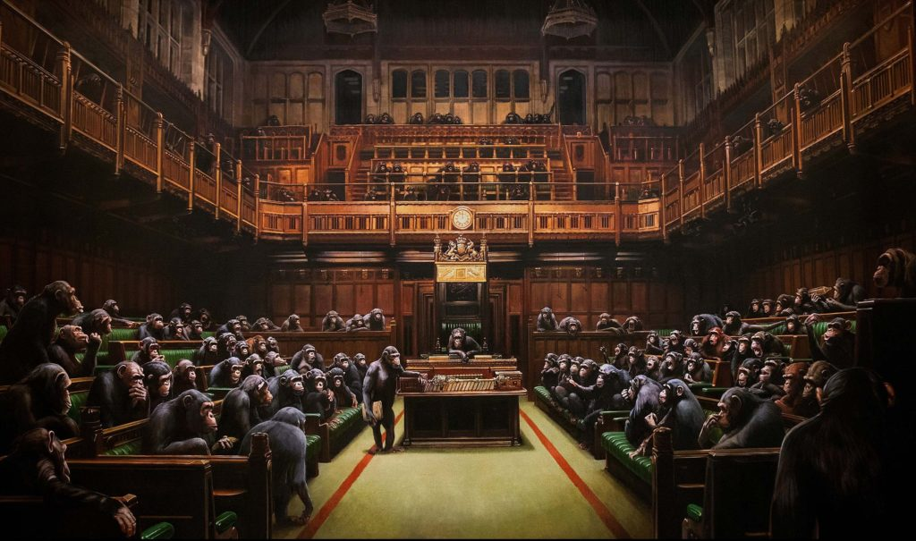 Devolved Parliament,  Banksy, 2009, Private Collection, on loan to Bristol Museum.