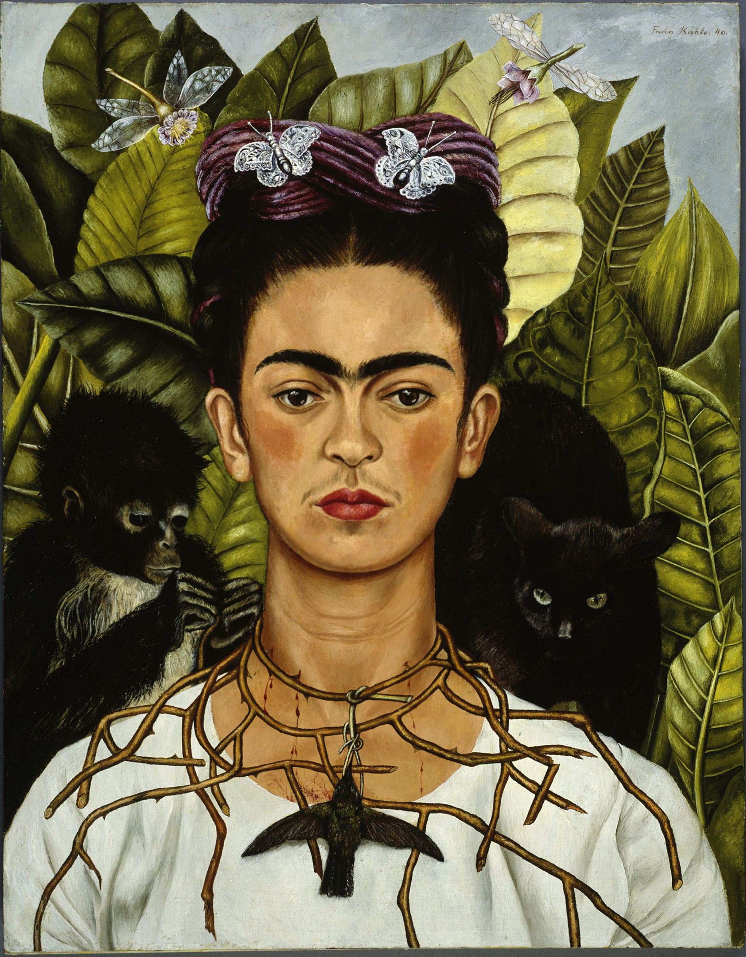 Frida Kahlo, Self Portrait with Necklace of Thorn Necklace and Hummingbird, 1940, Bridgeman.jpg