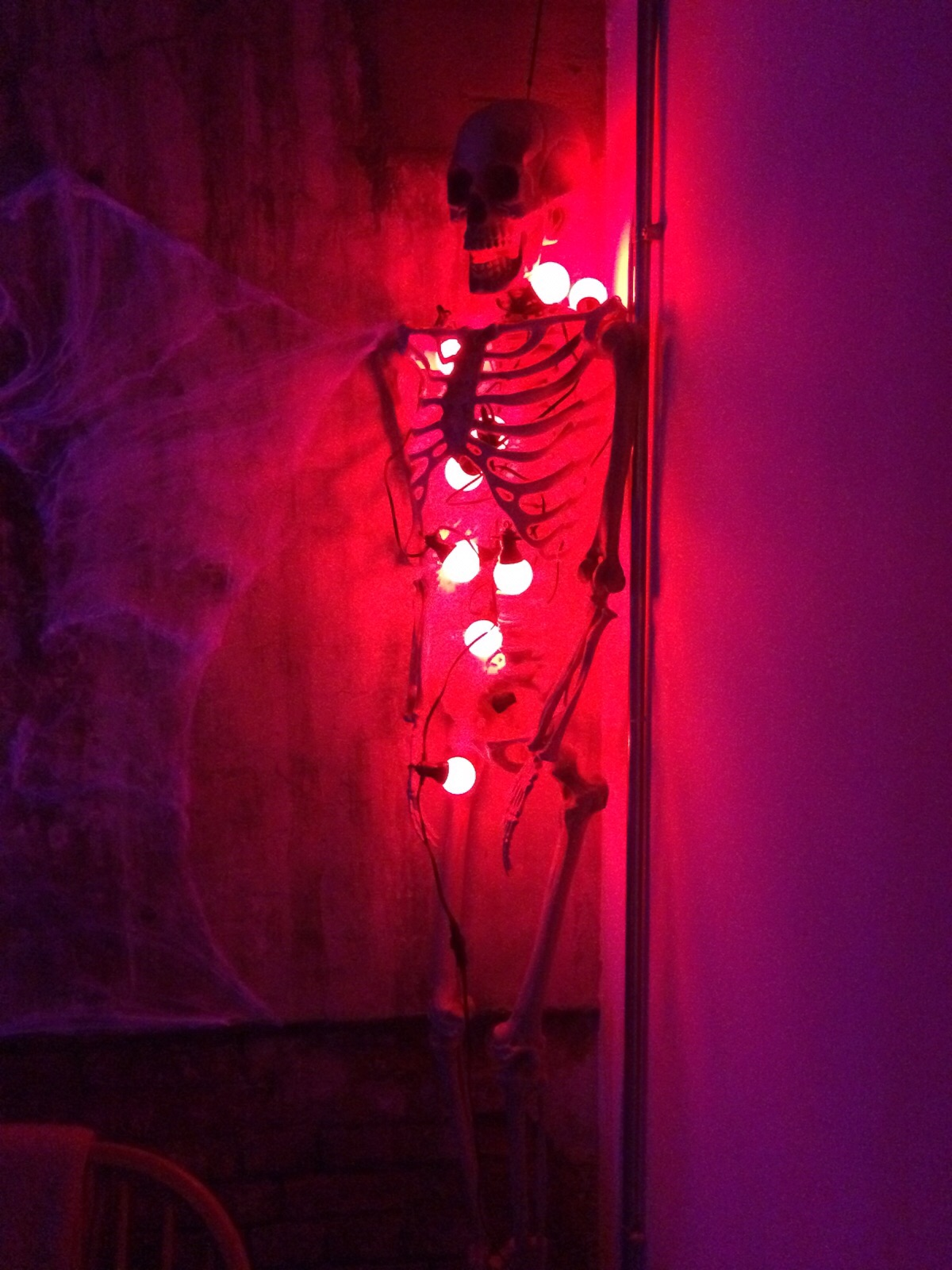 Skeleton with red light ball inside of it.