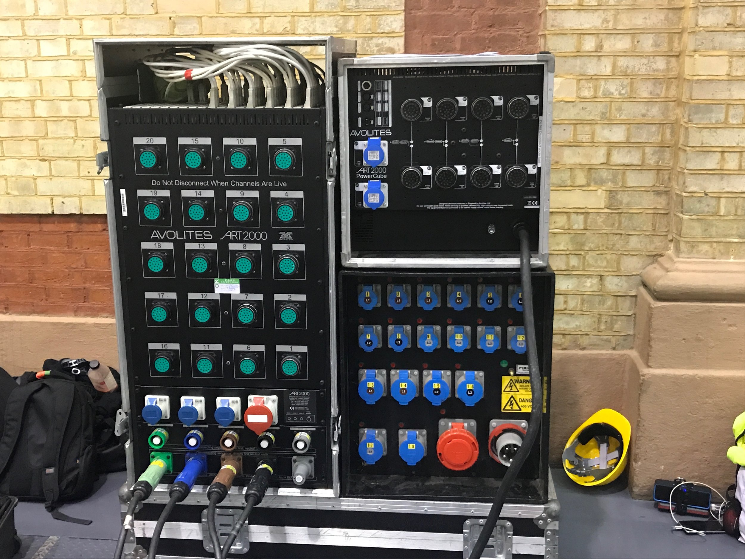 Distro and dimmer rack.