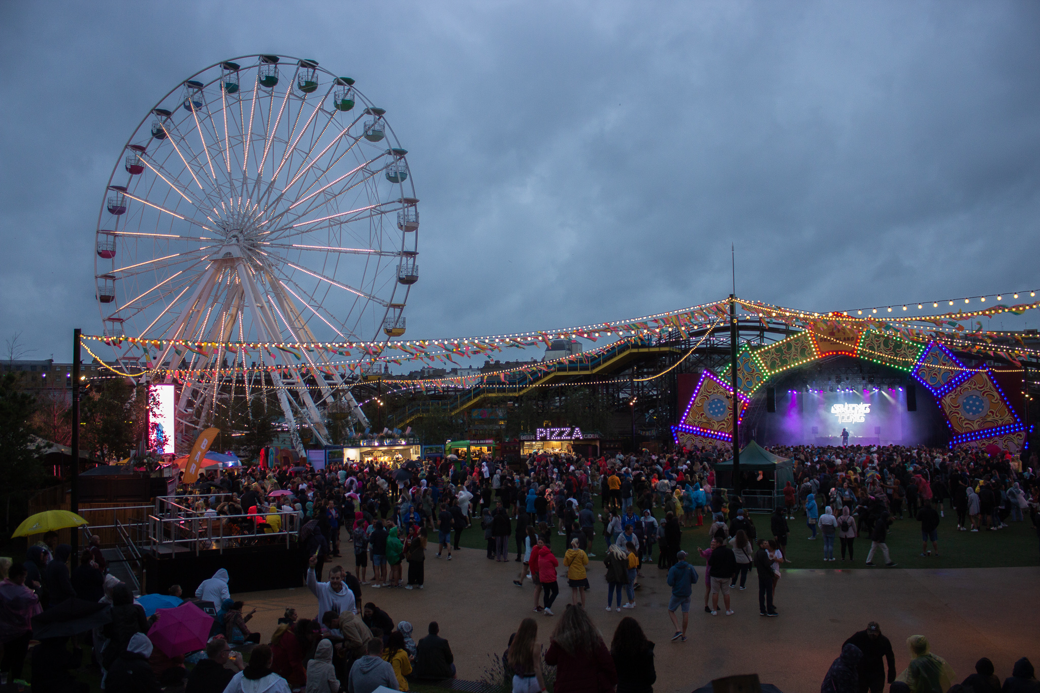 Fair ground and stage in the evening