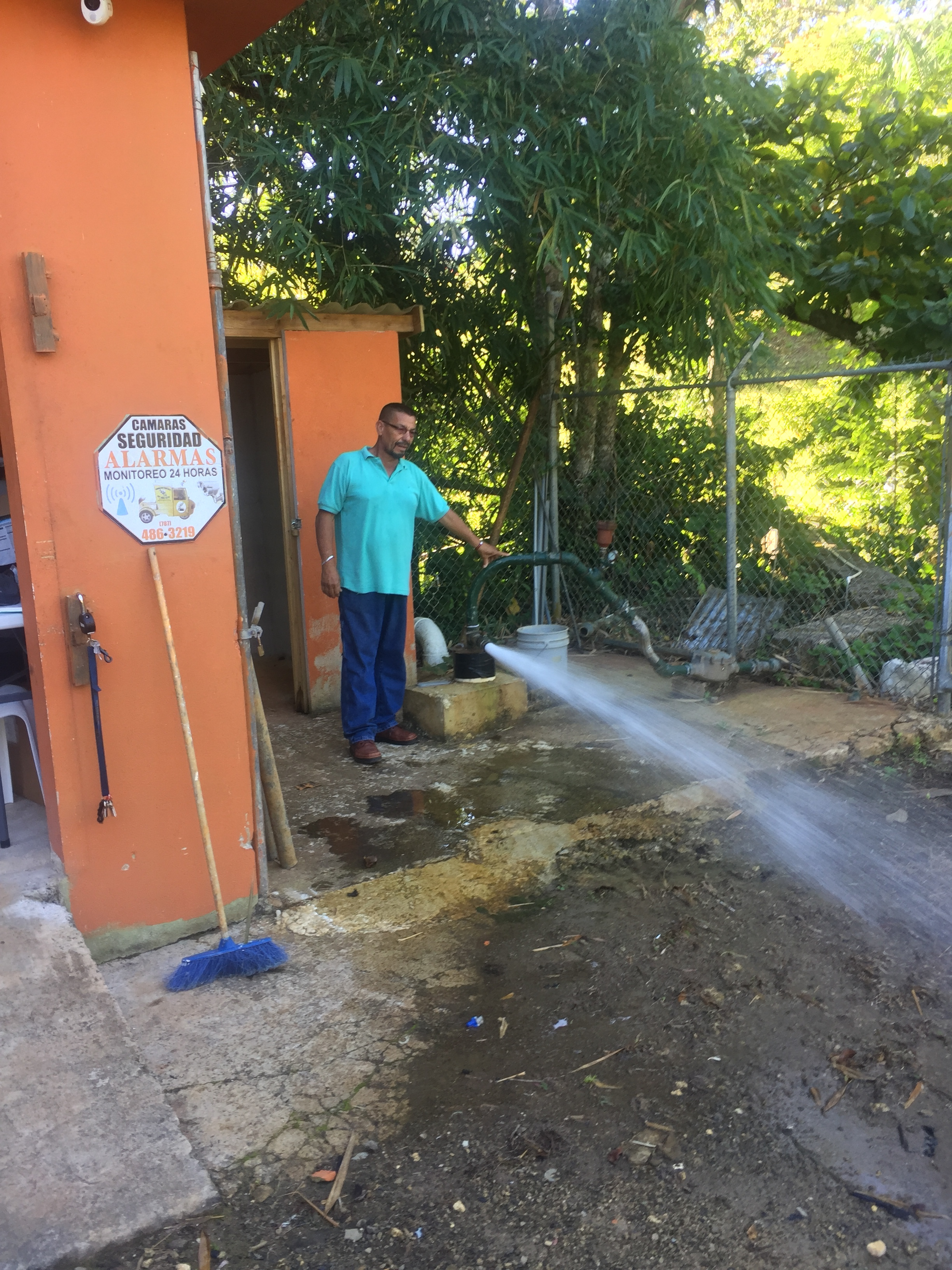 Cesar Irizarry demonstrating the Corcovada water system
