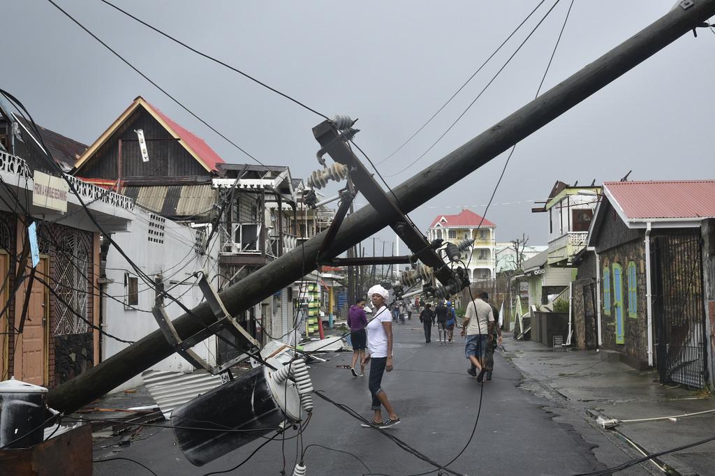 Fallen power line after Maria
