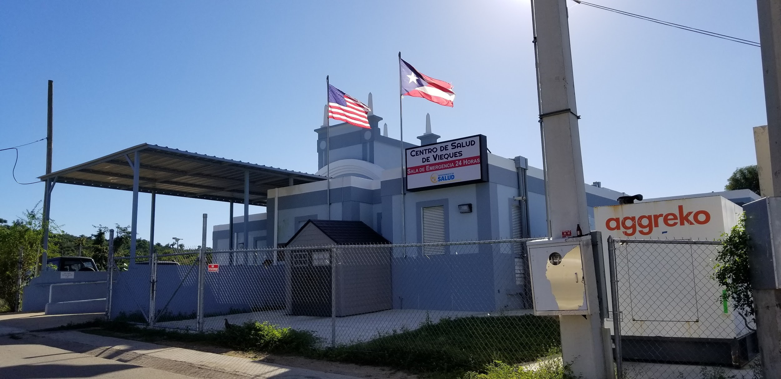 the temporary hospital in vieques, powered by a diesel generator